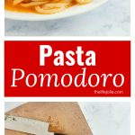 This Pasta Pomodoro recipe is a simple pasta. The flavors of deliciously fresh tomatoes, basil and garlic come together in a sauce for this quick and easy weeknight meal.