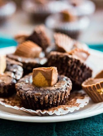 A square image of Peanut Butter Cup Brownie Bites.