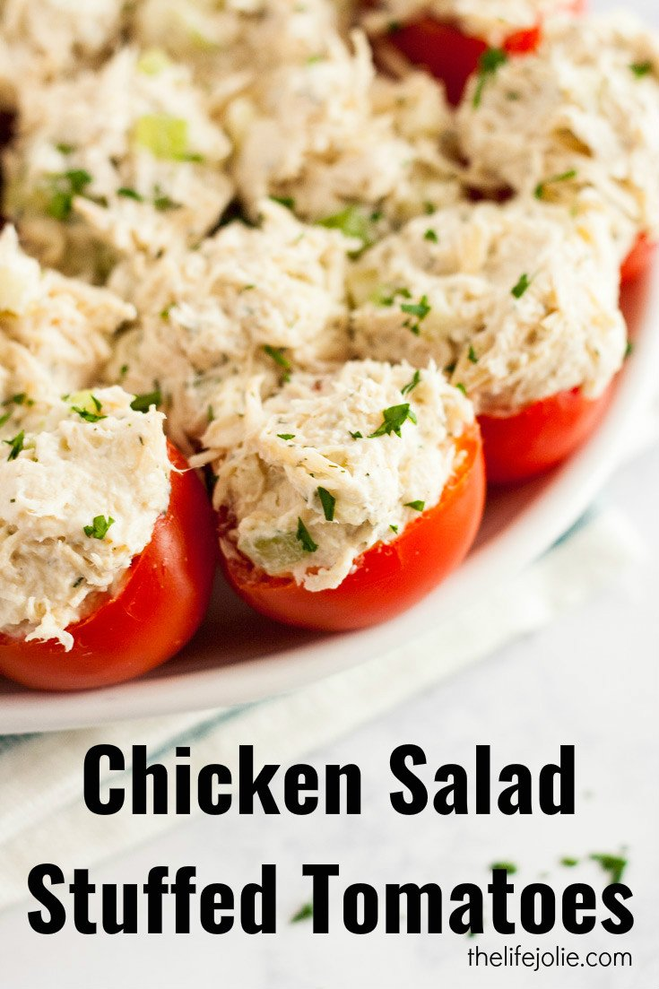 Chicken Salad Stuffed Tomatoes are a simple, gluten-free twist on a chicken salad sandwich. They're made with Greek Yogurt and with apples and they're super easy to make ahead. They make a delicious healthy lunch or appetizer!