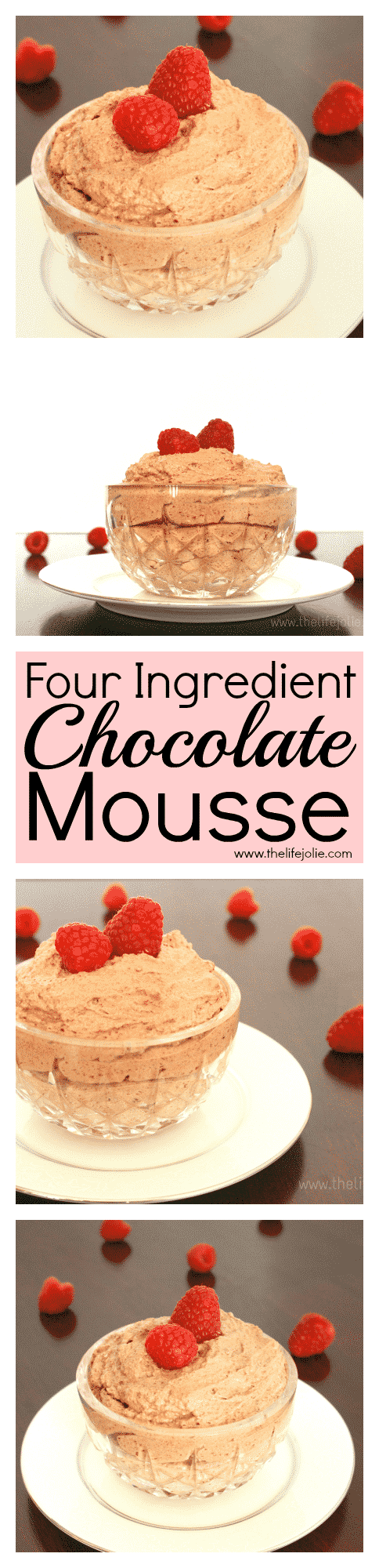 This Four Ingredent Chocolate Mousse is so simple and easy to make. It's light and fluffy but the flavor is rich and decadent. After I made it, everyone that tasted it keeps requesting it again.