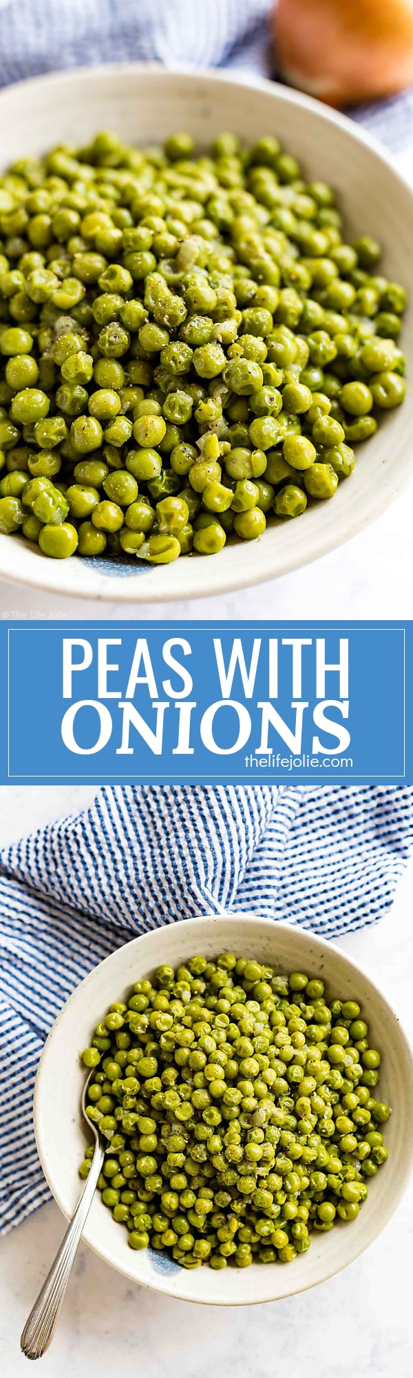Peas with Onions is the most easy side dish! With a few simple ingredients, this recipe is a snap to throw together on a busy week night but delicious enough to serve at a gathering or with a holiday dinner.