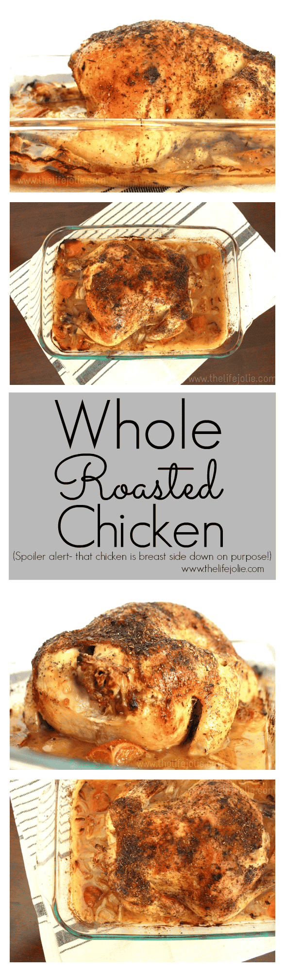 This is the most simple delicious whole roast chicken recipe- there is no extra, unnecessary work but the results are super delicious- even the white meat is super tender and succulent! This recipe is fool-proof!