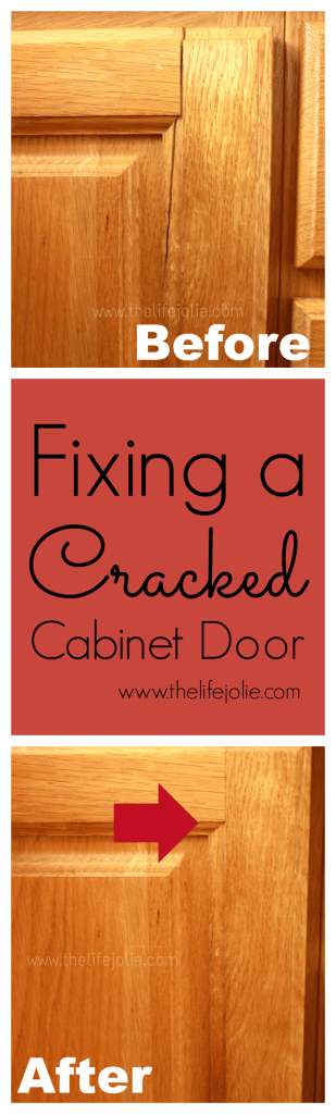 A quick and easy was of temporarilyy fixing a cracked cabinet door