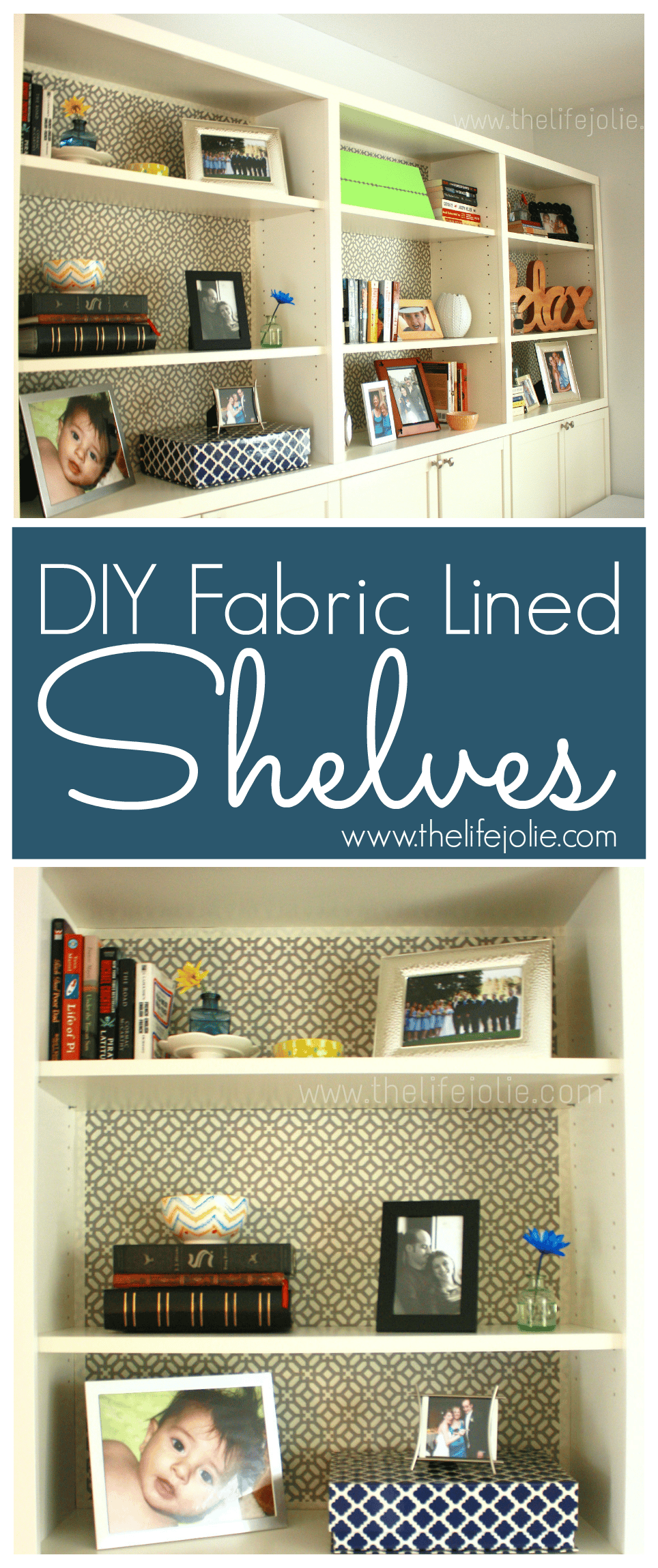 These fabric lined shelves are great way to add new life to boring shelves and bookcases- the great thing is that there are notes on what parts of the project worked and what parts can be done better next time. Click the photo to read more.