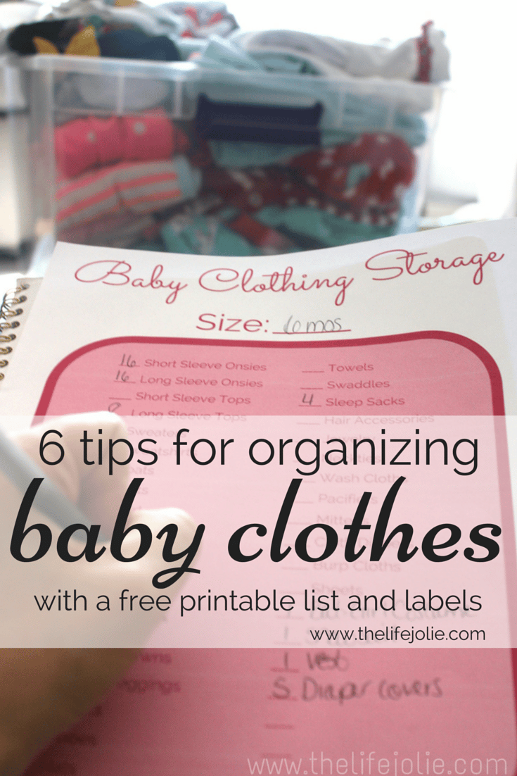 This is a list full of tips for organizing old baby clothes. It also includes a ton of free printable labels for various sizes and a printable list.