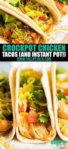 This Crockpot Chicken Tacos recipe is the easiest taco meat you'll ever make. With just 4 ingredients and minimal effort, your taco Tuesday will never be the same! Also includes Instant Pot instructions!