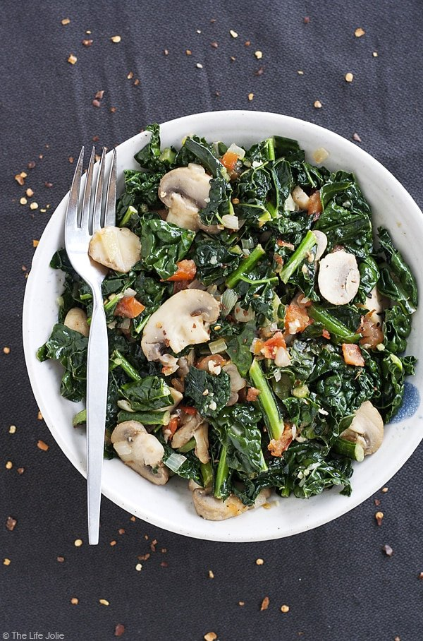 Sauteed Kale with Mushrooms and Tomatoes is the best healthy side dish. This also makes a great vegetarian main dish. I love to cook a big batch to eat with lunch or dinner- it's full of delicious flavor!