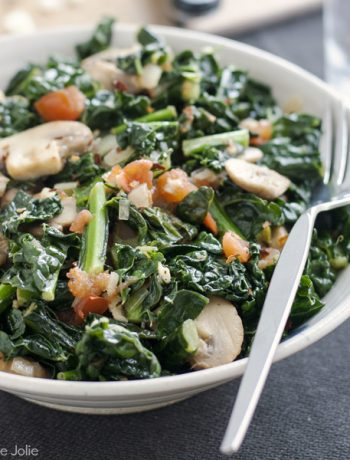 Sautéed Kale with Mushrooms and Tomatoes is the best healthy side dish. It whips up super quickly and easily and tastes fantastic! This also makes a satisfying vegetable main dish.