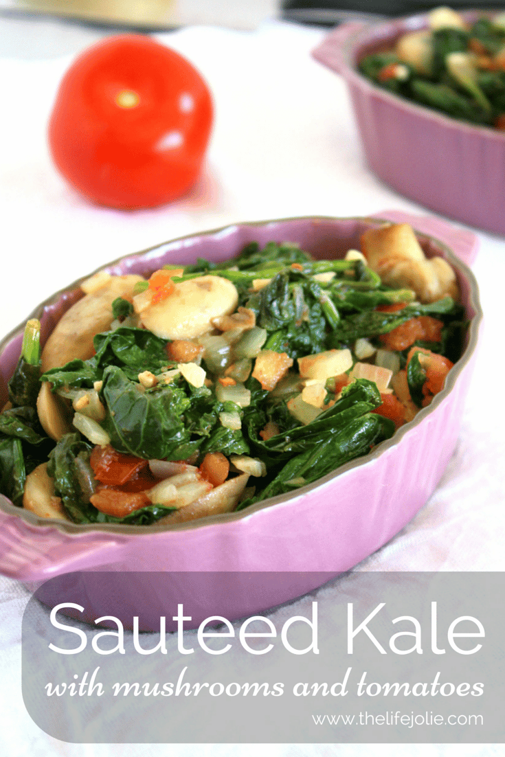 This Sauteed Kale with Tomatoes and Mushrooms is the perfect veggie side dish or meatless main dish. It is so quick and easy to make, completely full of flavor and so healthy! Click on the photo to read more...