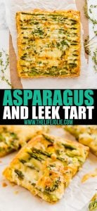 This Asparagus, Leek and Egg Tart is a quick and easy brunch recipe that is full of great flavor! Made with fresh herbs, puff pastry and gruyere cheese, it's an awesome dish to pass!