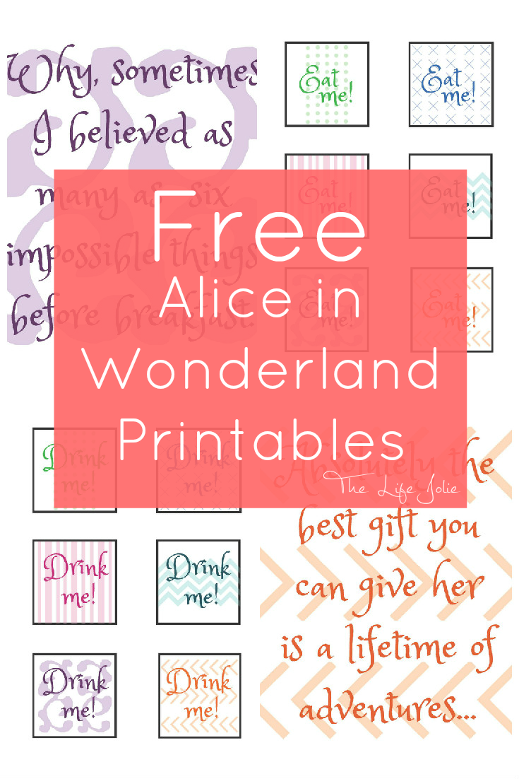 photo relating to Free Printable Signs identified as Alice inside of Wonderland symptoms and free of charge printables