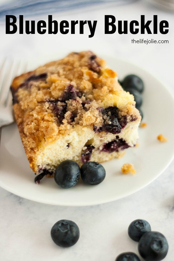 This Blueberry Buckle whips up super quick and easy. This moist cake is bursting with sweet, juicy blueberries with the most incredible streusel topping. It's the quintessential summer dessert and a true crowd-pleaser! Click on the photo to get the recipe!