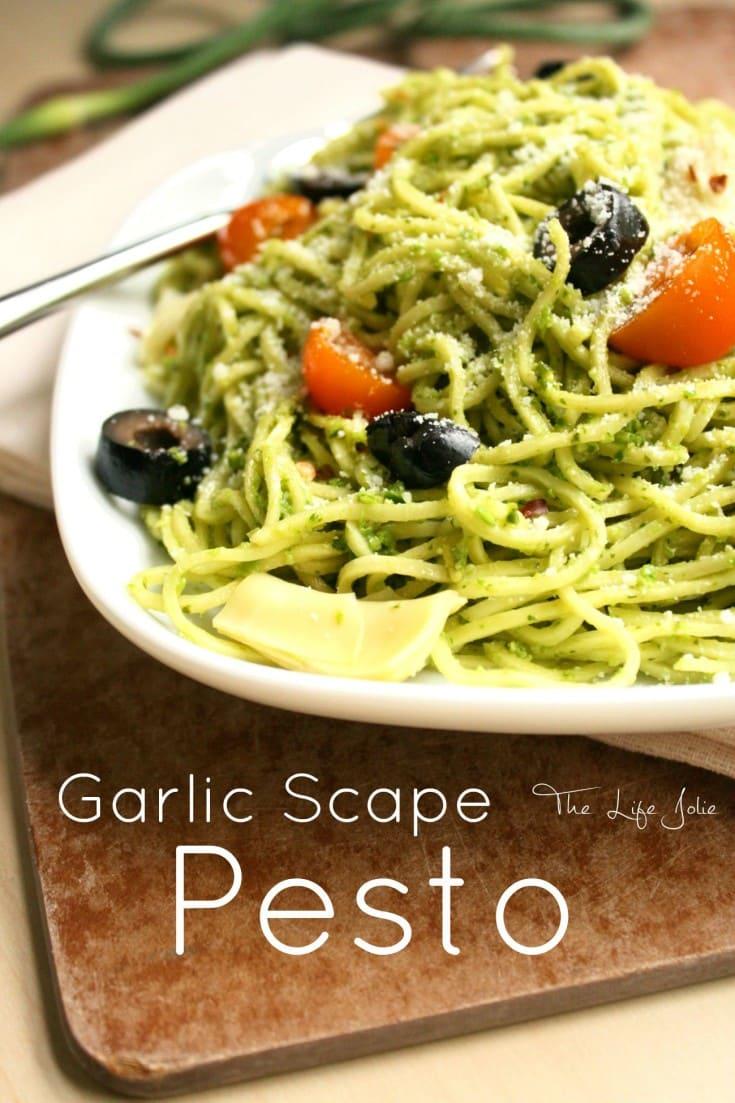 Garlic Scape Pesto On Fusilli With Garlic Scape Garlic Bread Recipe ...