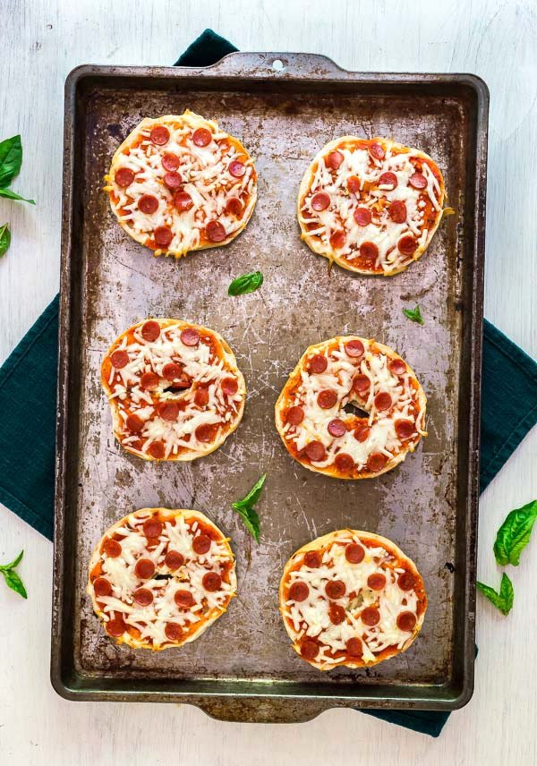 An overhead image of Freezer Friendly Pizza Bagels.