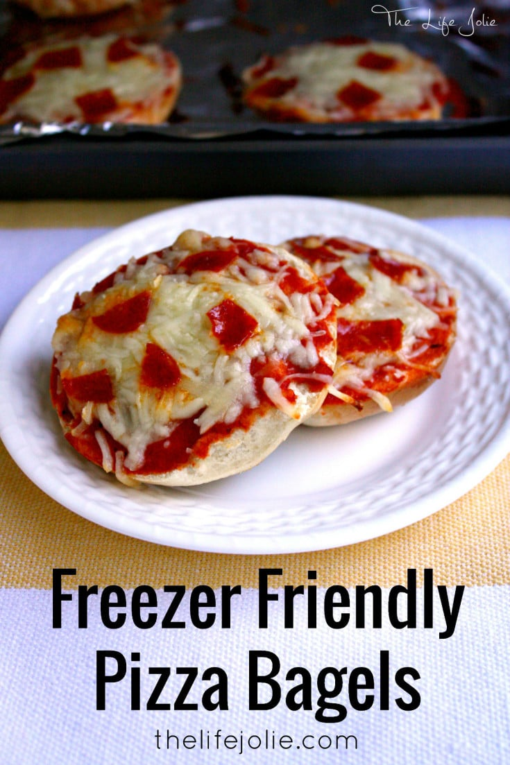 These Freezer-Friendly Pizza Bagels are quick and easy to assemble- they taste really great and are the perfect grab-and-go option for a busy family dinner or even an after school snack.