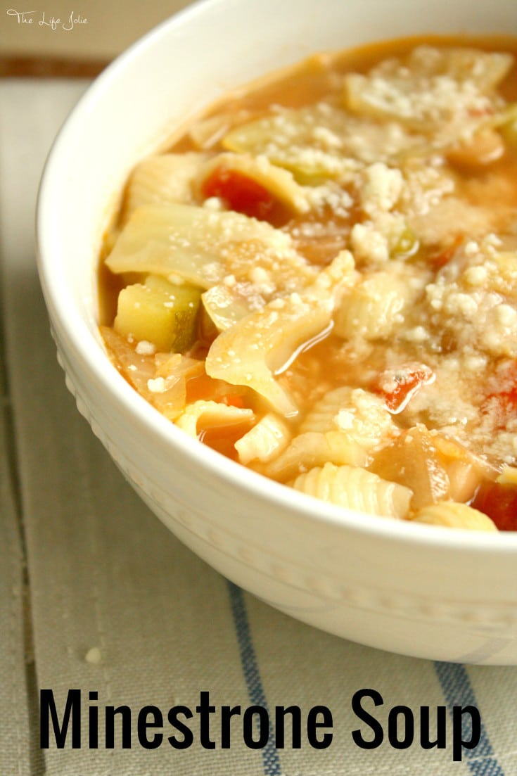 This Minestrone Soup is a quick and easy recipe. You can take it in whatever direction you want and change up the vegetables to make it your own. It makes a great to have on hand for a healthy lunch or dinner that you can enjoy all week with a sprinkle of cheese and a hunk of Italian bread!