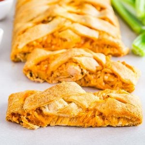 A square image of Buffalo Chicken Braid .
