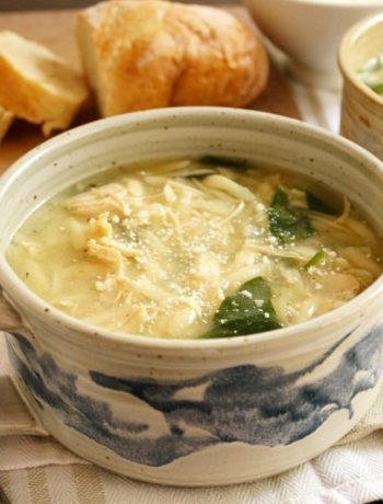 Chicken and Parmesan Soup with Spinach and Orzo is such a delicious twist on chicken noodle soup- the ingredients are so simple and yet when you put them together, they sing! I'll definitely be making this again and again!