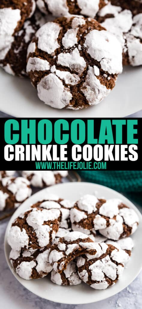 This Chocolate Crinkle Cookies recipe is a holiday family favorite- they're deliciously chewy, chocolate cookies that are super easy to make and a definite crowd-pleaser! These cookies are perfect on a Christmas cookie platter and are the best addition to any special occasion dessert table.