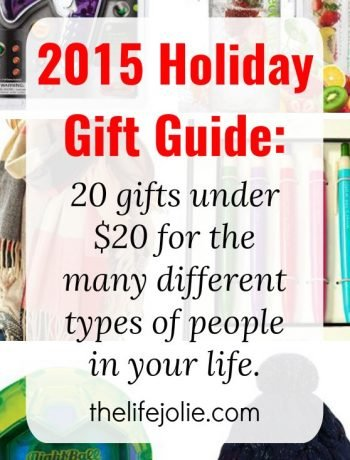 Ok, here it is, the 2015 Holiday Gift Guide. It's a list of 20 gifts ideas for under $20 each broken down for all the different types of people in your life. Check it out!