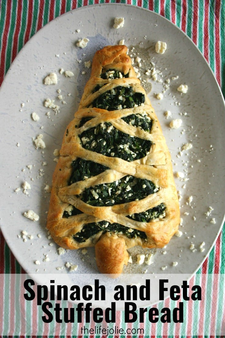 This Spinach and Feta stuffed bread is so easy to make and has the most delicious flavor. It makes a lovely holiday Christmas Tree appetizer or can be in the form of a regular stuffed bread any other time of year!