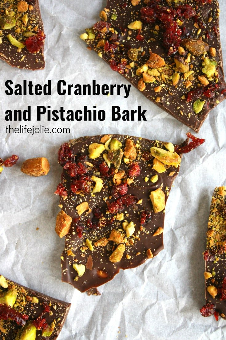 This Salted Cranberry and Pistachio Bark could not be more delicious! It's insanely easy to make and the salty-sweet flavor combination cannot be beat! I'll definitely be making this over and over again!