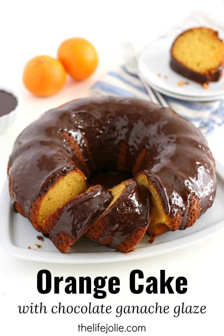 Orange Cake With Chocolate Ganache Glaze