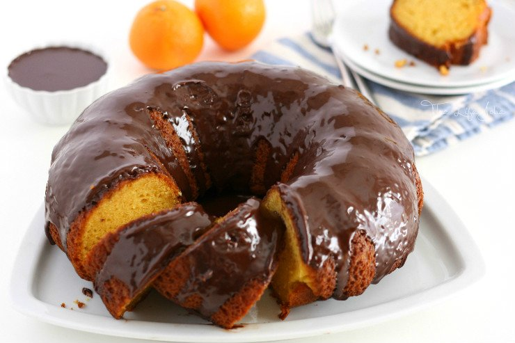 Orange Cake with Chocolate Ganache Glaze