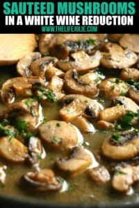 SautéedMushrooms in a wine reduction are an easy recipe that comes together really quickly. They're a great way to use leftover wine!