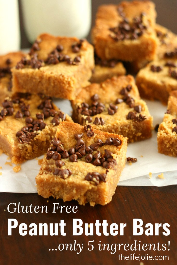 This Gluten-Free Peanut Butter Bar recipe are super quick and simpleto make. It only has five ingredients and the bars are so rich and decadent with everyone's favorite flavor combination; peanut butter and chocolate!