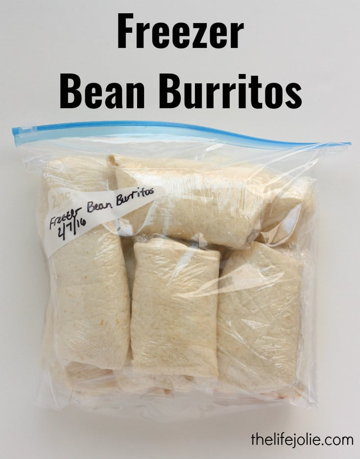 These Freezer Bean Burritos are so simple and easy to make and are delicious grab-and-go lunches or dinners. Our family loves them!