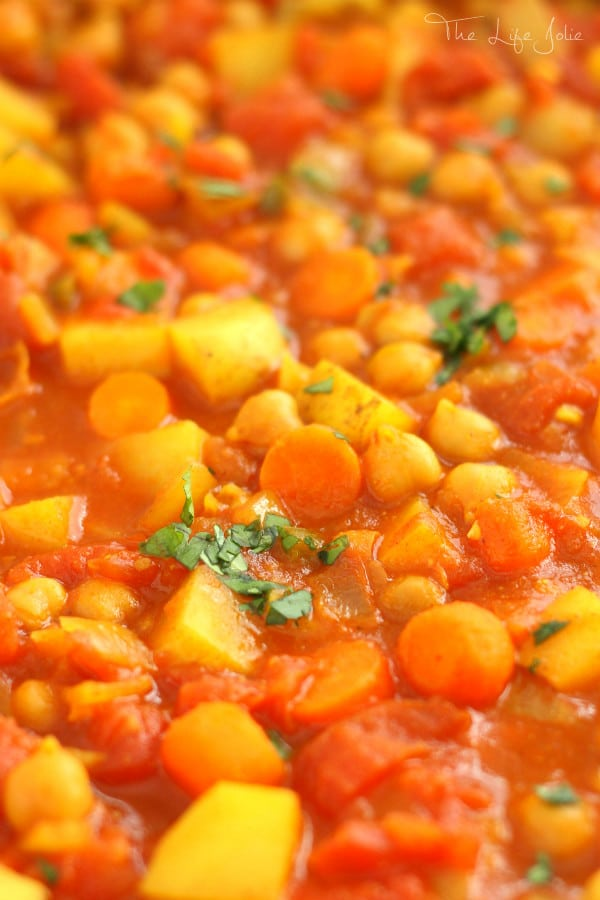 This Moroccan Chickpea Stew is a delicious vegetarian recipe. These big flavors pack a major punch! It's quick and easy to make and very frugal as well. Definitely an excellent way to detox!