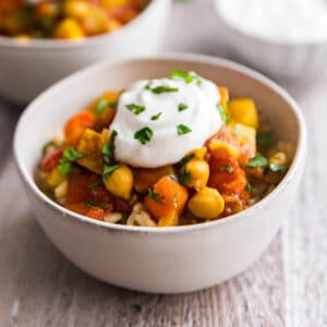A square image of Moroccan Chickpea Vegetarian Stew.