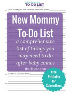 This New Mommy To-Do List is a comprehensive list of things that you may need to do after the baby comes. Postpartum is an exhausting time and it's very easy to forget certain things that you need to do. These ideas and tips will give you an idea of what you may need to do. Head over to the post to get the free printable!