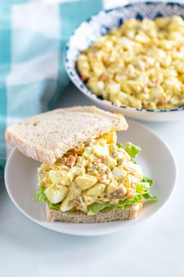 An open face egg salad sandwich