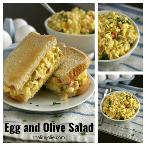 Egg and Olive Salad is so simple to make and tastes delicious! This recipe uses a few basic ingredients that we all tend to have on hand and is a great way to use up leftover Easter eggs!