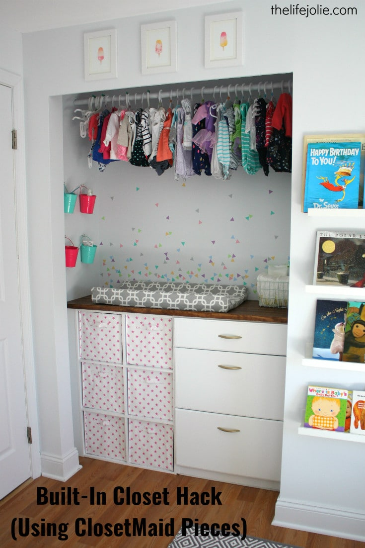 This DIY Built-in Closet is a ClosetMaid hack. Itu0027s pretty simple to customize & Built-in Closet Hack for Bubblesu0027 Nursery (Using Closetmaid Pieces)