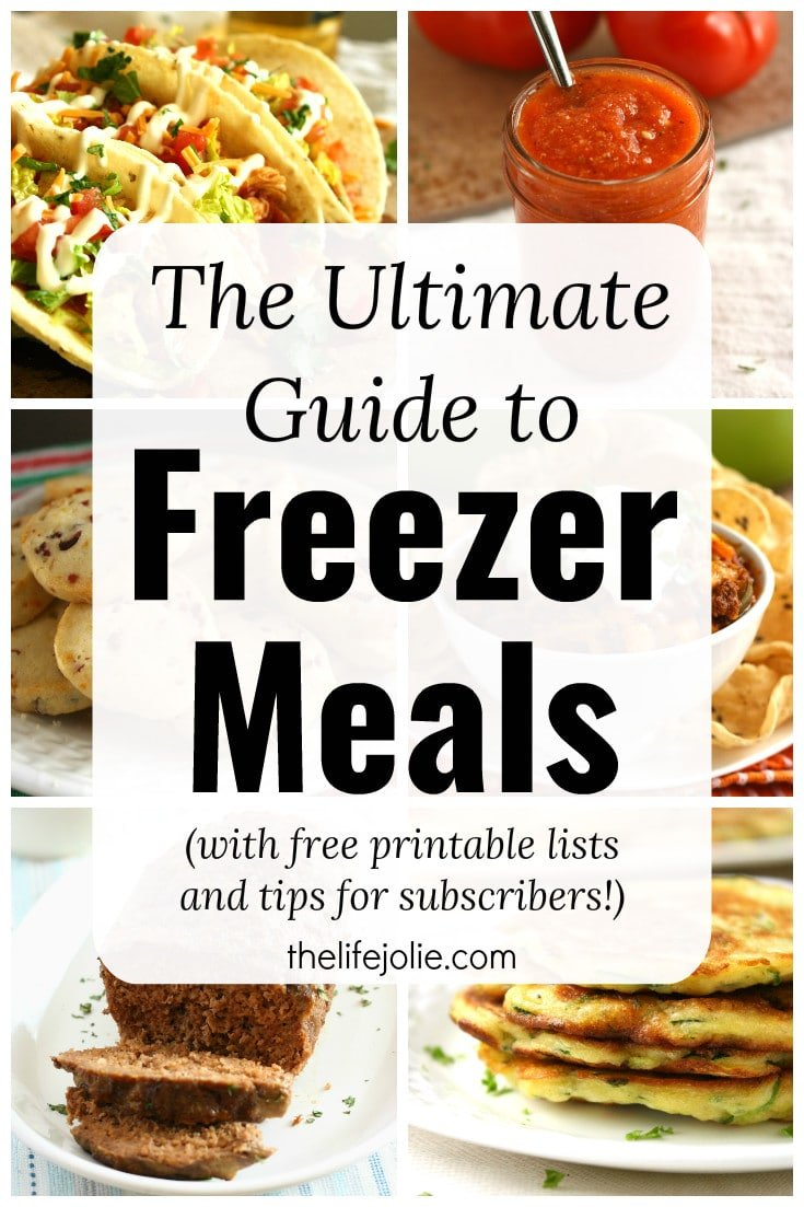 The Ultimate Guide to Freezer Meals contains a ton for make ahead, healthy recipes. It's great for new moms and for after baby with easy dinner option and practical tips for freezing various food items! Don't miss out on the free printable lists as well!