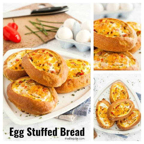 This Egg Stuffed Bread recipe is a delicious, easy brunch or breakfast option. Imagine crusty loaves of french bread, stuffed with your favorite omelette fillings, cheese and eggs. It's quick and delicious to serve during the holidays and is sure to be a family favorite!