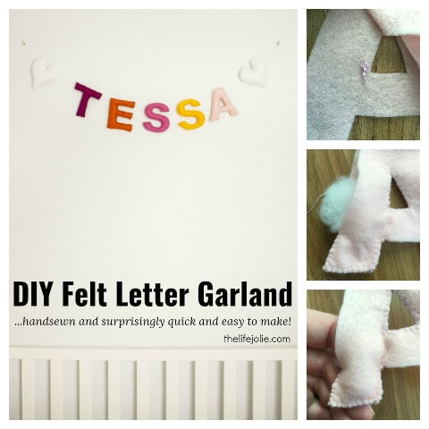 This DIY Felt Letter Garland is such a cute decoration for a baby room. It's easy to sew and comes together pretty quickly. It's such a simple way to display a name in your nursery!