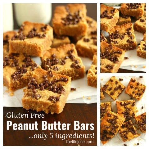 This Gluten-Free Peanut Butter Bar recipe are super quick and simple to make. It only has five ingredients and the bars are so rich and decadent with everyone's favorite flavor combination; peanut butter and chocolate!
