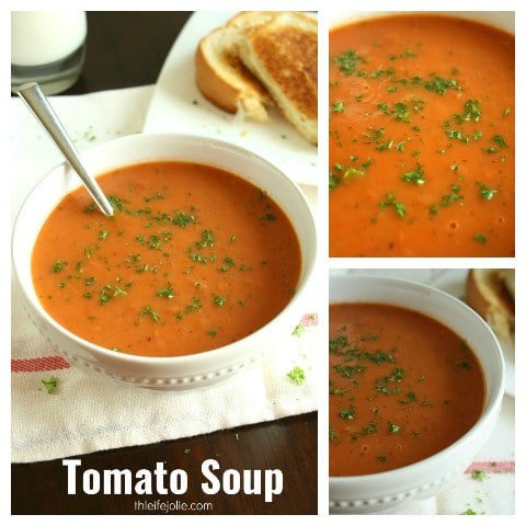 Best-Ever Tomato Soup is such an easy recipe for homemade tomato soup. It's creamy and delicious and you can use fresh or canned tomatoes. It's pretty quick to make and freezes really well!