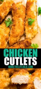 These Chicken Cutlets are SO good, you'll never need another Chicken Cutlet recipe (isn't that always the case with recipes from Grandma?!)! Made with chicken breast, seasoned bread crumbs, cheese and a secret ingredients that sounds unconventional but makes these SO good! This is such an easy weeknight dinner recipe!