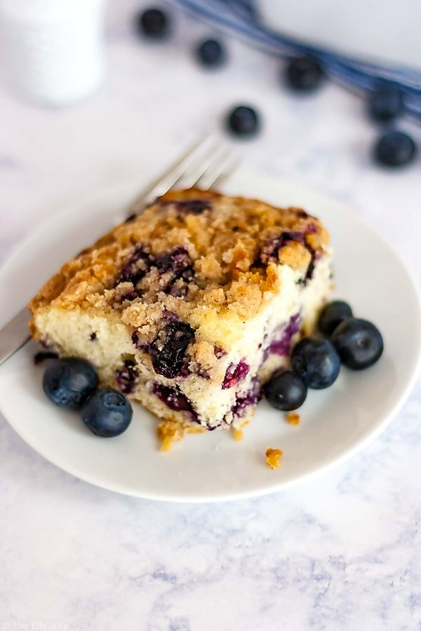 A piece of Blue berry Buckle on a plate.