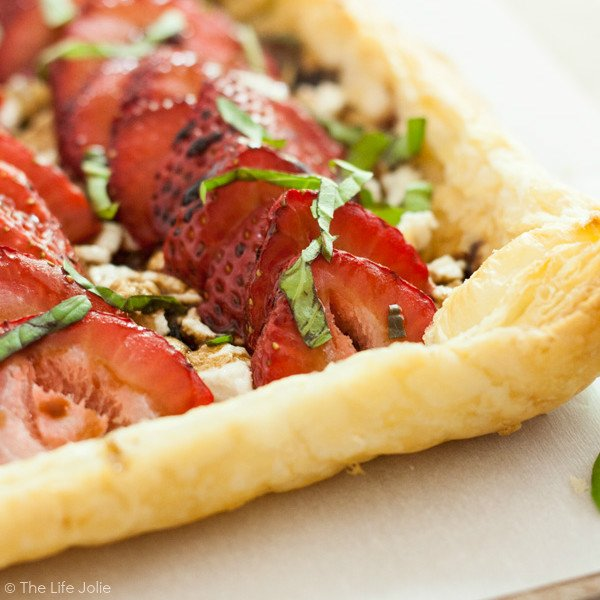 The Strawberry Goat Cheese Tart recipe is great for a brunch or a low-key get-together. It's quick and easy to make using frozen puff pastry and tastes delicious! Click on the photo to get the recipe!