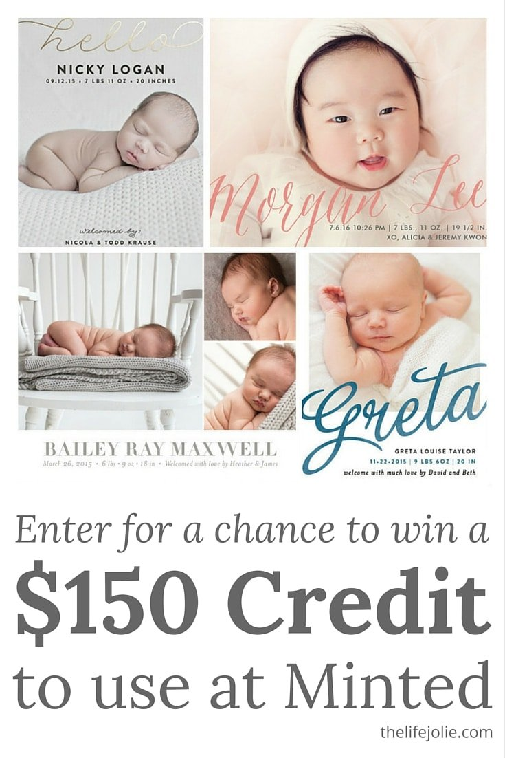 Enter for a change to win a $150 credit at Minted. Click on the photo for more info!