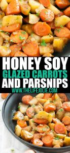 Honey Soy Glazed Carrots and Parsnips are a sweet and savory vegetable side dish that will please even the pickiest of palates! Made with carrots, parsnips, shallots, honey and soy sauce. This is the perfect addition to any holiday table (hello thanksgiving and Christmas!).