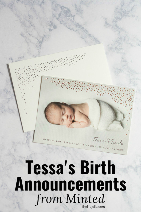 Check out our daughter Tessa's beautiful birth announcements from Minted- they were so great to work with!