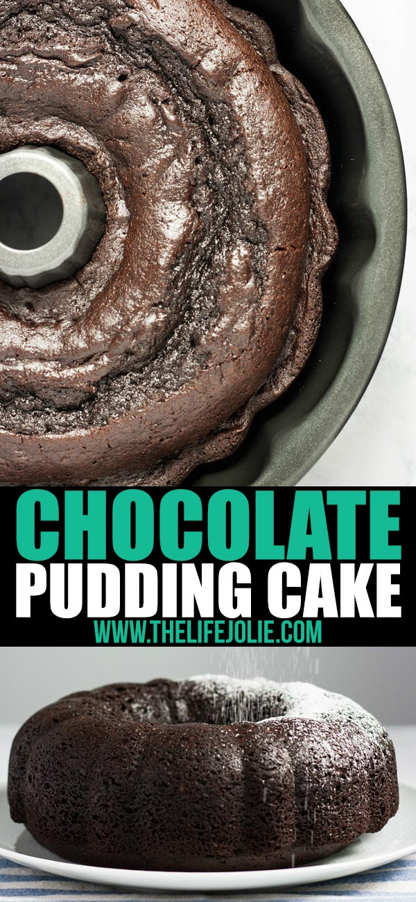 This quick and easy Chocolate Pudding Cake recipe is a delicious cake mix hack! There are only five simple ingredients and the result is the most perfectly moist cake you'll ever taste. This is an awesome last-minute dessert to throw together and it's so good that people will have no idea it's from a box!