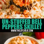 This Un-Stuffed Bell Peppers Skillet is a delicious one pot meal and a great way to use leftover rice. It's ready in 30 minutes and takes all the work out of traditional stuffed peppers which makes it an easy option for a weeknight dinner!